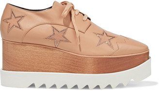 Stella McCartney Elyse Embellished Cutout Faux Leather Platform Brogues