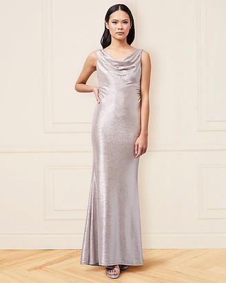 Le Château Foil Knit Cowl Neck Gown