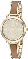 Anne Klein Women's AK/2436DTGB Swarovski Crystal Accented Gold-Tone and Dark Tan Bangle Watch