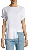 Maison Margiela Short-Sleeve Side-Pleat Top, White
