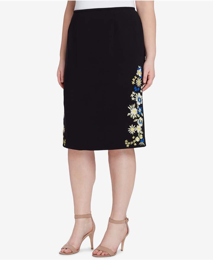 Tahari ASL Plus Size Embroidered Skirt