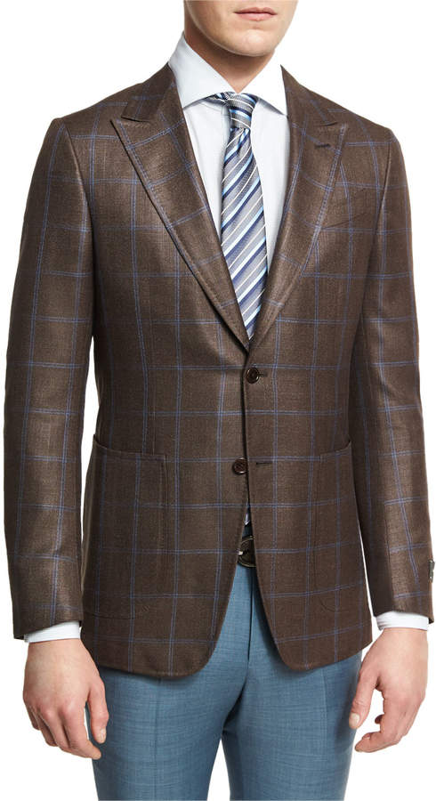 Ermenegildo Zegna Windowpane Check Two-Button Sport Coat, Brown/Blue