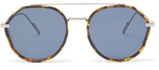 Dior Homme Sunglasses - Metal And Tortoiseshell-acetate Aviator Sunglasses - Blue Silver