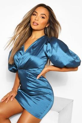 boohoo Petite Extreme Volume Sleeve Taffeta Wrap Dress
