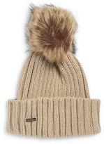 Calvin Klein Faux Fur Pom Pom Ribbed Knit Hat