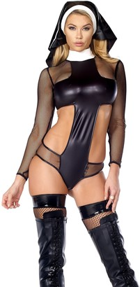 Forplay Women's Ungodly Matte Bodysuit with Fishet Contrast and Headpiece