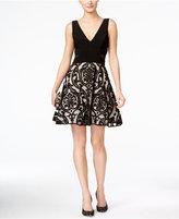 Xscape Evenings Illusion Damask V-Neck Dress