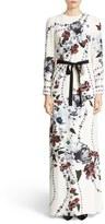 Erdem Agnes Belted Floral Print Silk Gown