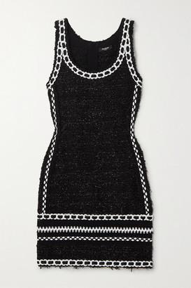 Balmain Embroidered Metallic Tweed Mini Dress - Black