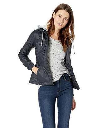 Yoki Women's Faux Leather Jacket with Fleece Hood