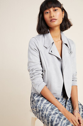 Anthropologie Kelyn Sueded Moto Jacket By in Grey Size S