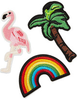 3x1 Vacation Forever Set Of Three Embroidered Cotton Patches - Green