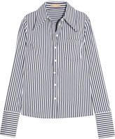 Michael Kors Striped Stretch Cotton-blend Poplin Shirt - White