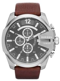 Diesel Mega Chief Stainless Steel Leather Strap Watch