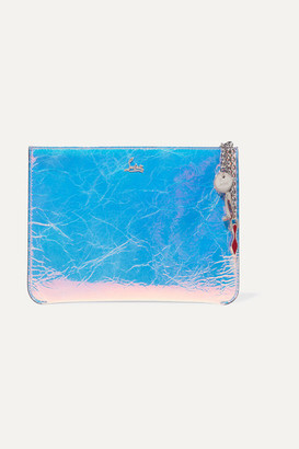 Christian Louboutin Loubicute Iridescent Textured-leather Clutch - Silver