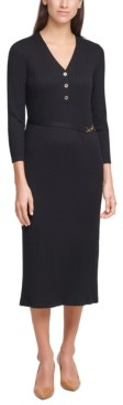 Calvin Klein Button-Front Sweater Dress