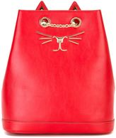 Charlotte Olympia Feline embroidered backpack - women - Leather/metal - One Size