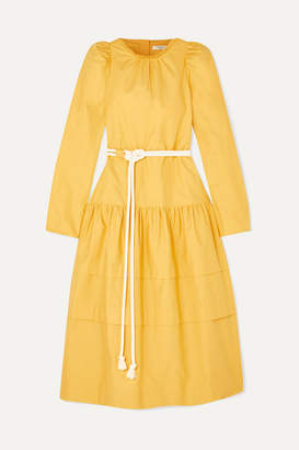 Atlantique Ascoli Datcha Belted Ruffled Textured Cotton-canvas Midi Dress - Yellow