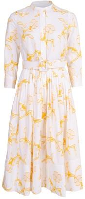 Oscar de la Renta Floral Print Cotton Shirt Dress
