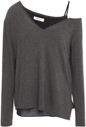 Bailey 44 Hannah Cold-shoulder Layered Chiffon And Melange Knitted Top