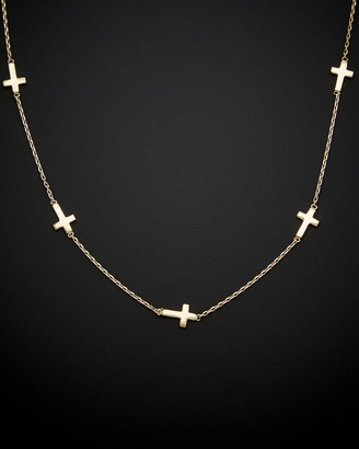 Italian Gold 14K Sideways Cross Necklace