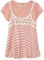 Speechless Crochet Trapeze Top & T-Shirt, Big Girls (7-16)