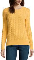 ST. JOHN'S BAY St. John's Bay Cable Crew Sweater- Talls