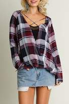 Umgee USA Crisscross Plaid Top