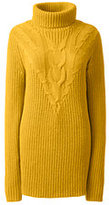 Lands' End Women's Tall Lofty Cable Turtleneck Tunic Sweater-Rich Sapphire