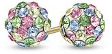 Zales Child's Multi-Color Pastel Crystal Ball Earrings in 14K Gold