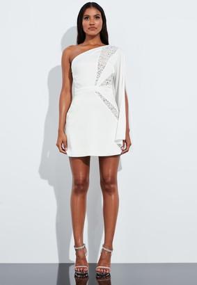 Missguided White Lace One Shoulder Split Sleeve Mini Dress