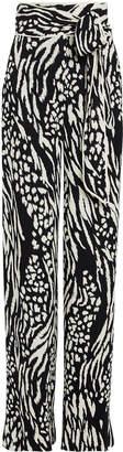 Veronica Beard Curtis Leopard Wide Leg Trousers