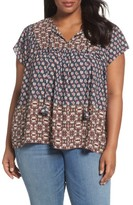 NYDJ Plus Size Women's Mix Border Print Blouse
