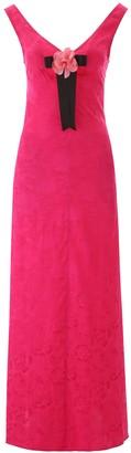 STAUD Peony Brooch Floral Jacquard Dress