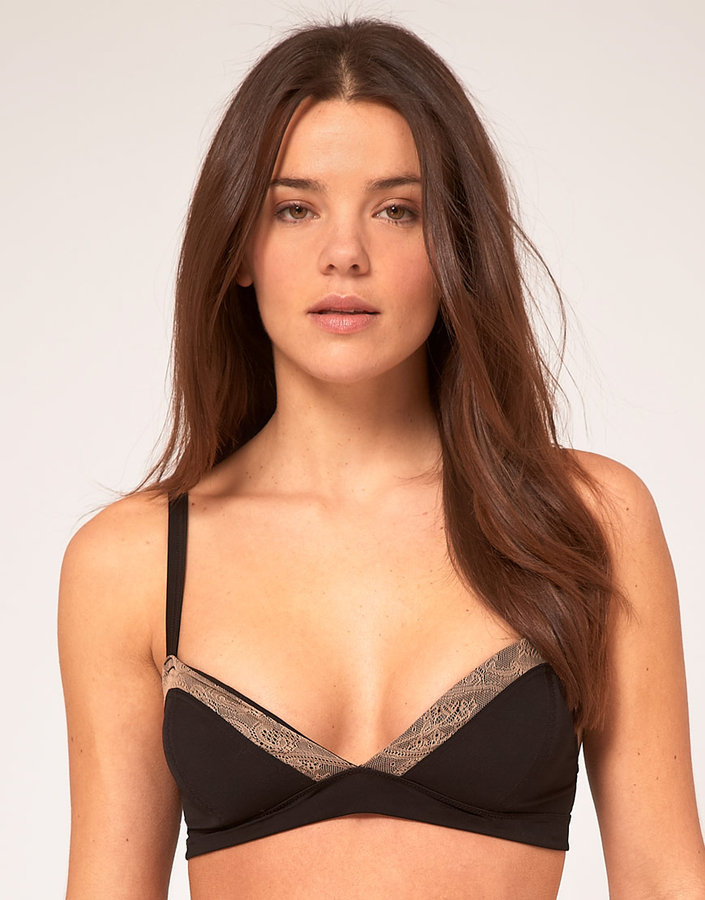 Asos Soft Triangle Bra With Lace Insert
