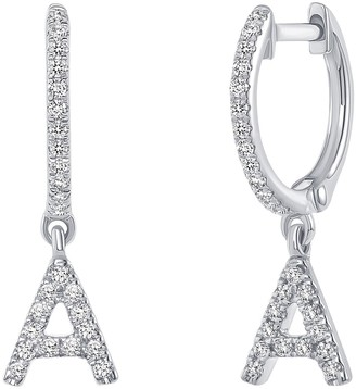 Ron Hami 14K White Gold Diamond Initial Huggie Earrings - 0.13-0.19 ctw