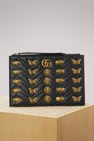 Gucci GG Marmont embroidered pouch with animal studs