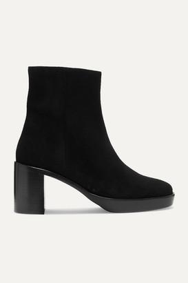 BY FAR Ellen Suede Ankle Boots - Black