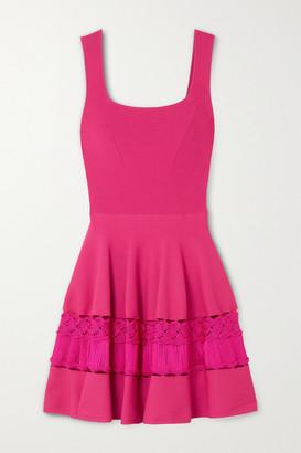 Alexander McQueen Crochet-trimmed Stretch-knit Mini Dress - Pink