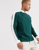 Asos Design DESIGN organic relaxed long sleeve t-shirt with contrast shoulder panel and turtle zip neck in green