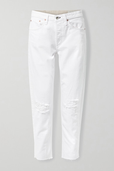 Thumbnail for your product : Rag & Bone Rosa Distressed Organic Mid-rise Straight-leg Jeans - White
