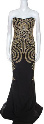 Marchesa Black Embellished Silk Slub Strapless Gown L