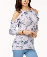 Ultra Flirt Juniors' Ruffle-Trimmed Cold-Shoulder Sweatshirt