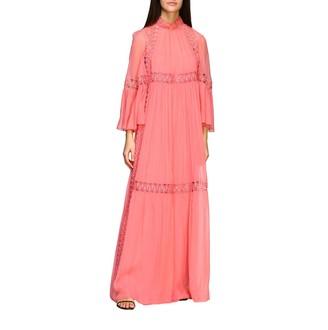 Alberta Ferretti Long Organza Dress With Embroidery