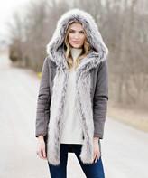 Donna Salyers' Fabulous Faux Furs Donna Salyers' Fabulous-Faux Furs Women's Car Coats Charcoal - Charcoal Faux Fur-Lined Hooded Coat - Women & Plus