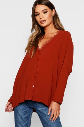 boohoo Eyelash Lace Trim Oversized Woven Blouse