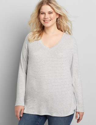 Lane Bryant Curved Hem Long-Sleeve Tee