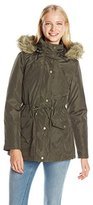 Madden-Girl Women's Anorak Parka Jacket with Faux-Fur Trim Hood