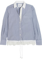 Sacai Lace-trimmed Striped Cotton-poplin Shirt - Light blue