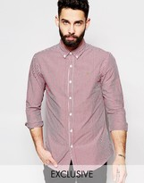 Farah Shirt with Gingham Check Slim Fit EXCLUSIVE In Red